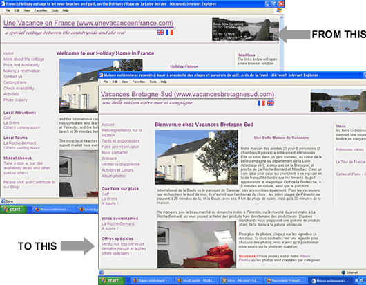 Example of a website before and after translation from English to French